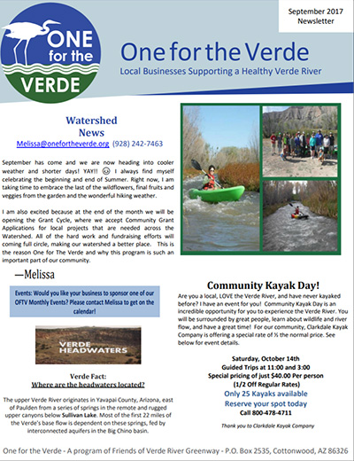 One for the Verde September 2017 Newsletter