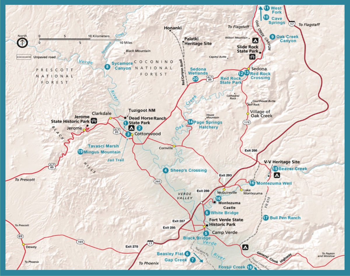 Verde River Valley Birding Map